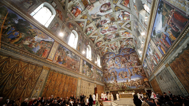 CNN.co.jp : 次期法王選出の決定知らせる煙突設置、バチカンの礼拝堂 Da Vinci Paintings