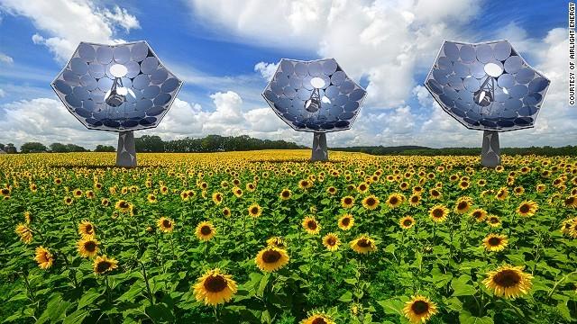 ひまわり型の太陽光発電機、海水淡水化など機能も多彩