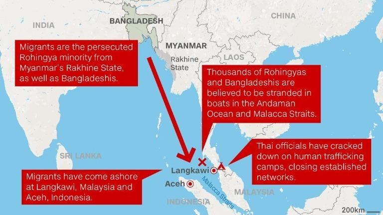 少数民族の数千人が漂流 東南ア諸国は受け入れ拒否