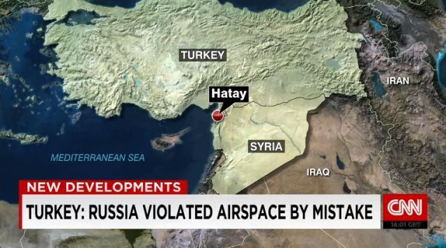 ロシア機によるトルコ領空への侵犯が発生したという (CNN)トルコ外務省は5