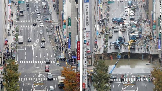 CNN.co.jp : 博多駅前の陥没道路...