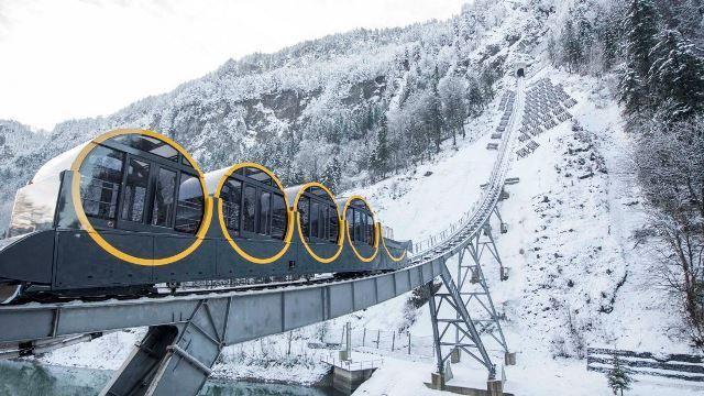 傾斜世界最大のケーブル鉄道が登場 スイス・アルプス