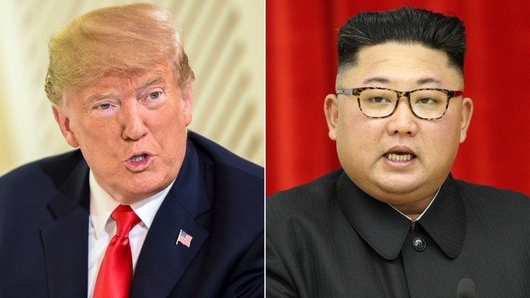 トランプ大統領(左)と金正恩朝鮮労働党委員長/Brendan Smialowski/Getty Images/Pyeongyang Press Corps/Pool/Getty Images
