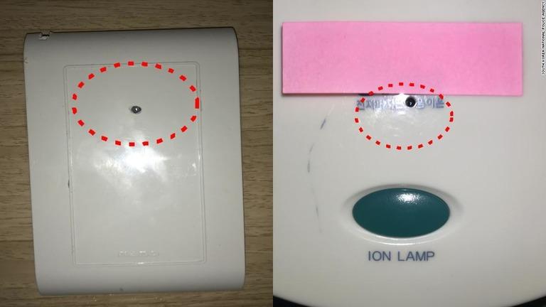 カメラはテレビや壁のコンセント、ヘアドライヤーホルダーの中などに隠されていた/South Korea National Police Agency