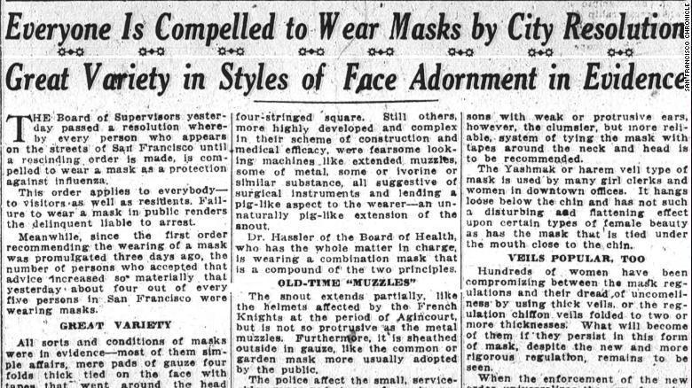 サンフランシスコ・クロニクル紙が掲載したマスク着用に関する1918年10月25日付の記事/San Francisco Chronicle