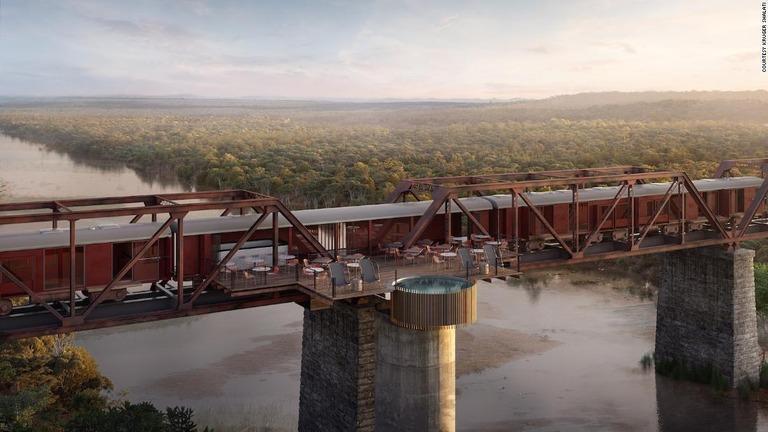 橋の上に止めた列車を高級ホテルに 南アで年内にオープン予定