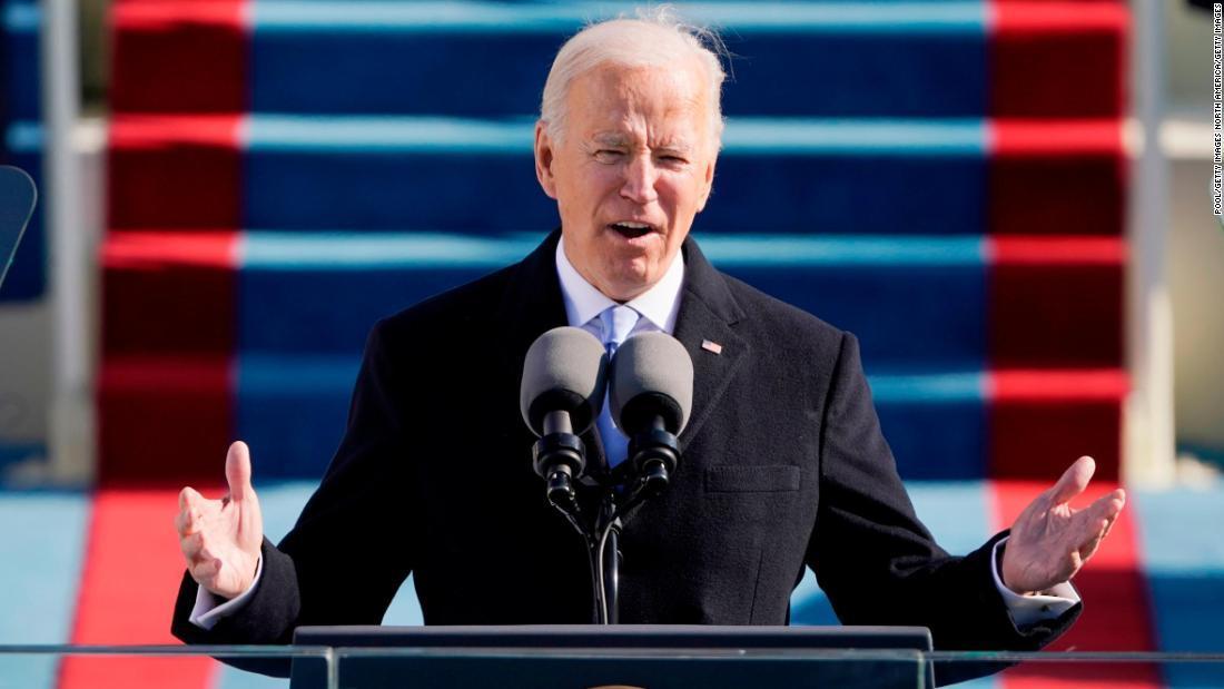 1月21日に行われた大統領就任式の様子/Pool/Getty Images North America/Getty Images