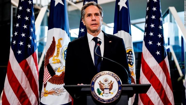 米国務省の式典に出席したブリンケン国務長官=1月27日、米ワシントンDC/CARLOS BARRIA/AFP/POOL/Getty Images