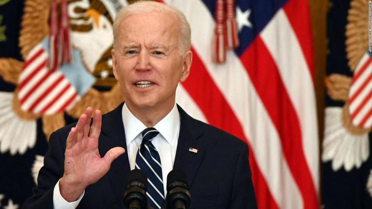 米国のバイデン大統領。バイデン政権が過去数カ月間取り組んで来た対北朝鮮政策の見直しが完了した/JIM WATSON/AFP/AFP via Getty Images
