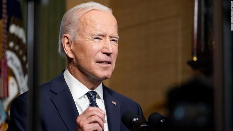 アフガニスタンからの米軍撤退について語るバイデン米大統領=4月14日、米ホワイトハウス条約室/Andrew Harnik/Pool/Getty Images