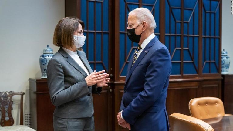 バイデン氏、ベラルーシの野党指導者とホワイトハウスで会談